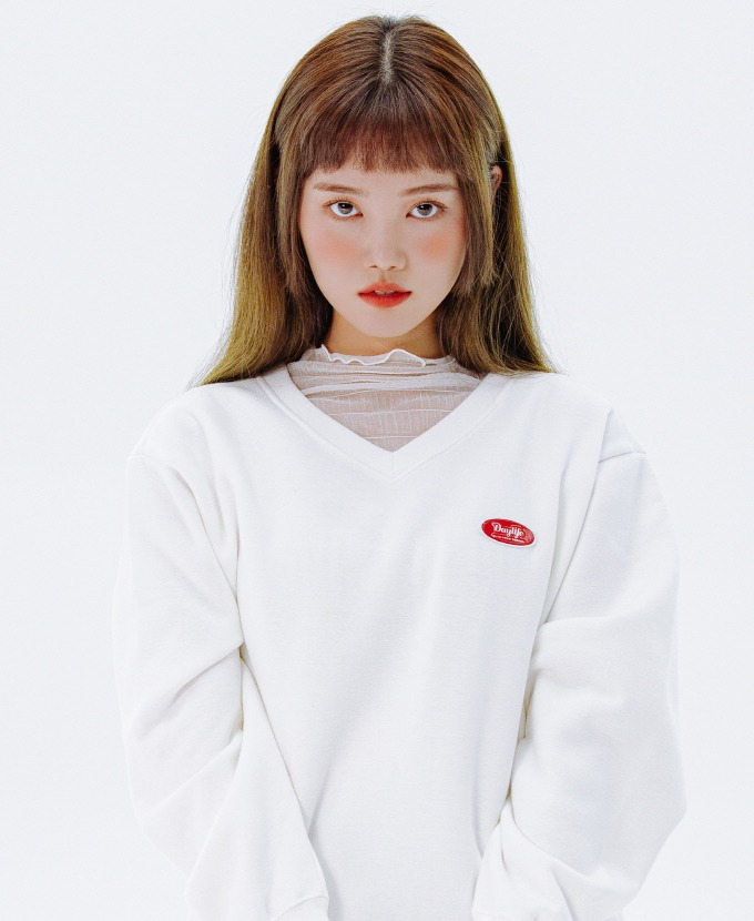 [20FW NEW]DAYLIFE V-NECK SWEAT SHIRTS (WHITE)
