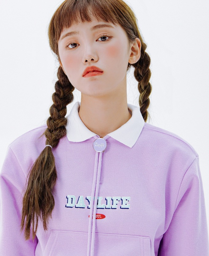 [20FW NEW]DAYLIFE COLLAR CROP SWEAT SHIRTS (PURPLE)